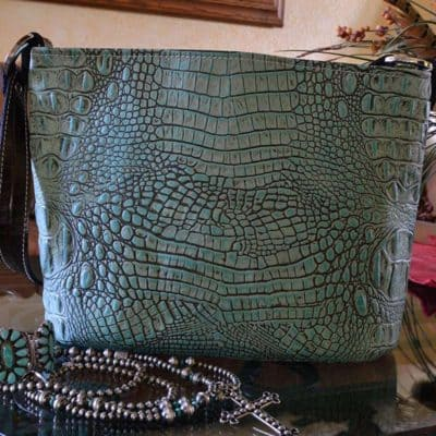 Antique Turquoise Embossed Crocodile Bucket Purse