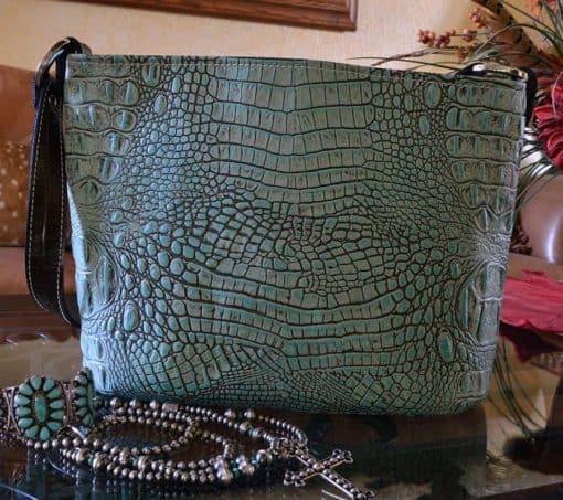 Antique Turquoise Embossed Crocodile Bucket Purse