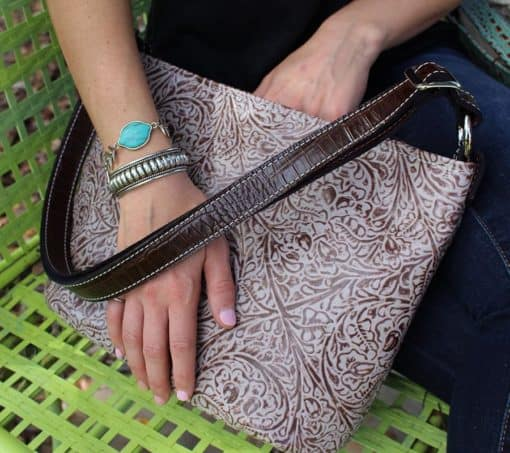 Bone and Chocolate Western Styled Embossed Concealed Carry Handbag