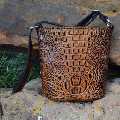 Butternut Embossed Croc Bucket Concealed Handgun Purse