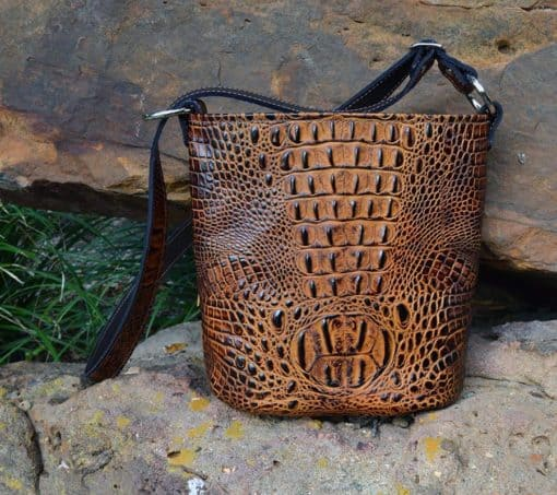 Butternut Embossed Croc Bucket Concealed Handgun Purse