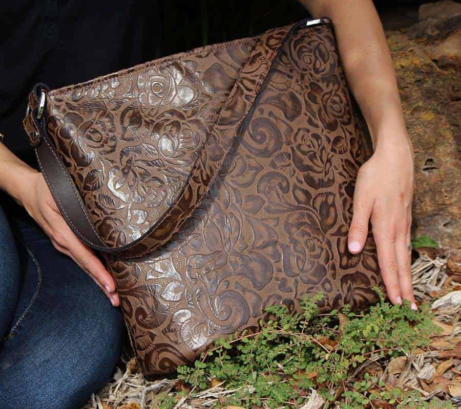 Chocolate Rose Embossed Leather Concealed Handgun Purse