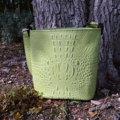 Embossed Croc Bucket Purse in Cool Cucumber