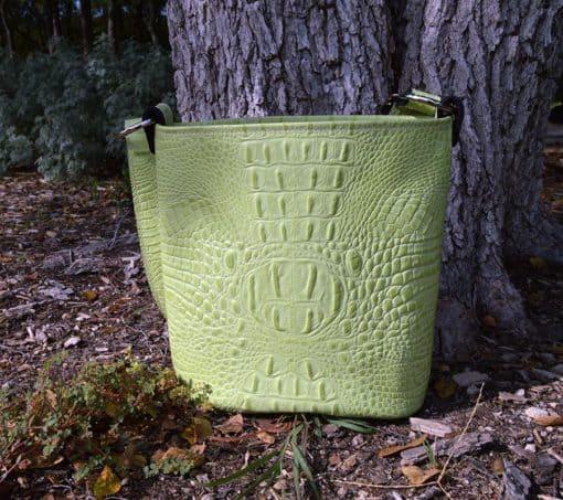 Embossed Croc Bucket Purse in Cool Cucumber