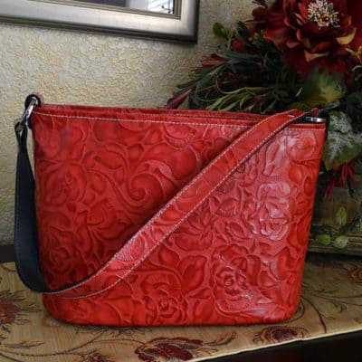 Ferrari Red Rose Embossed Bucket Purse
