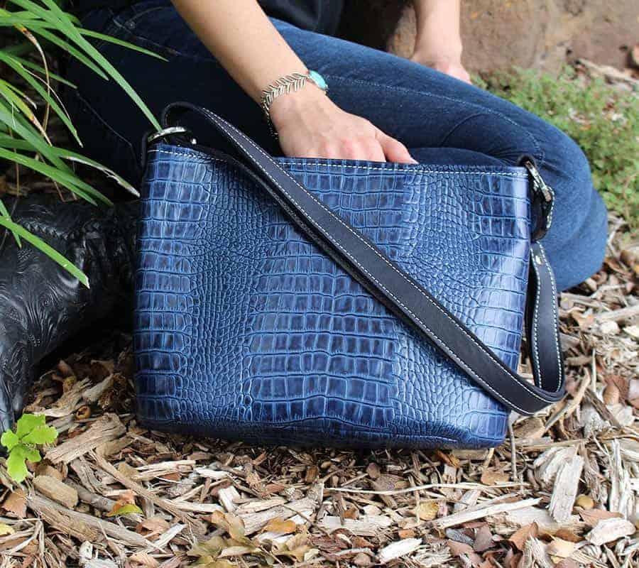 Indigo Barcelona Leather Bucket Purse for your Concealed Handgun
