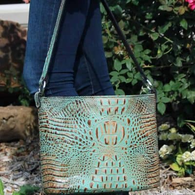 Mint Chip Croc Bucket Purse