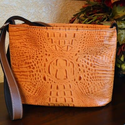 Tangelo Embossed Croc Petite Bucket Purse