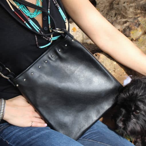 Black italian top grained leather concealed carry crossbody purse