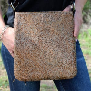 bronze western tooled cross body purse