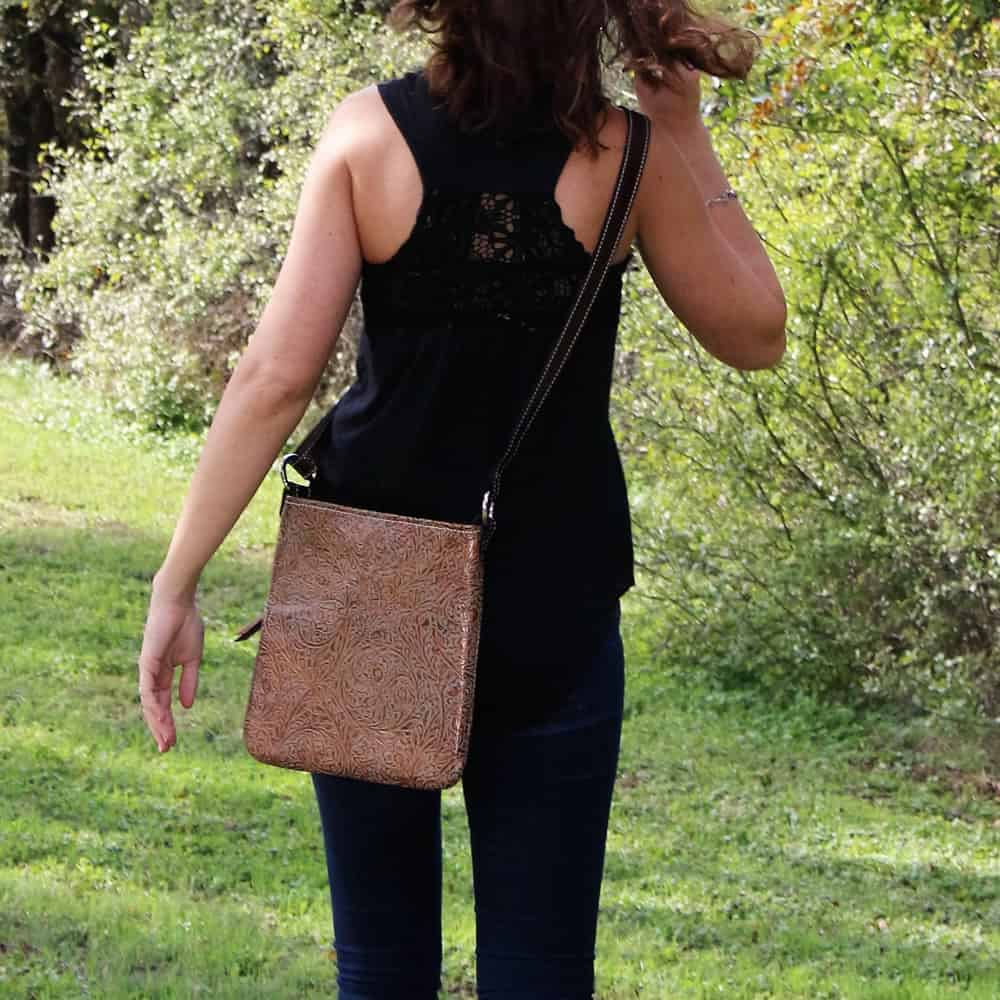 bronze western tooled styled crossbody concealment purse