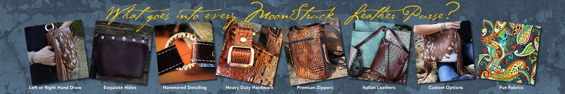 Only the finest materials and workmanship go into Moonstruck Leather's concealed handgun purses.
