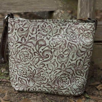 Conceal Carry Purse in Turquoise Rose Embossed Leather
