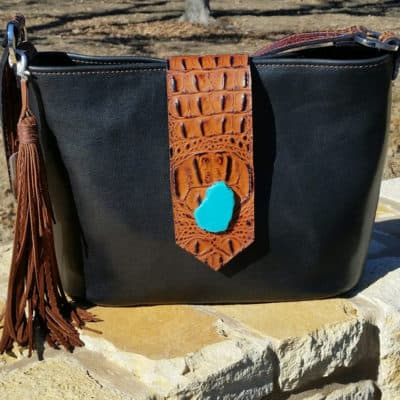 Black with Butternut Flap Concealed Carry Purse