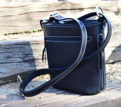 black top grain white stitching concealed carry purse back