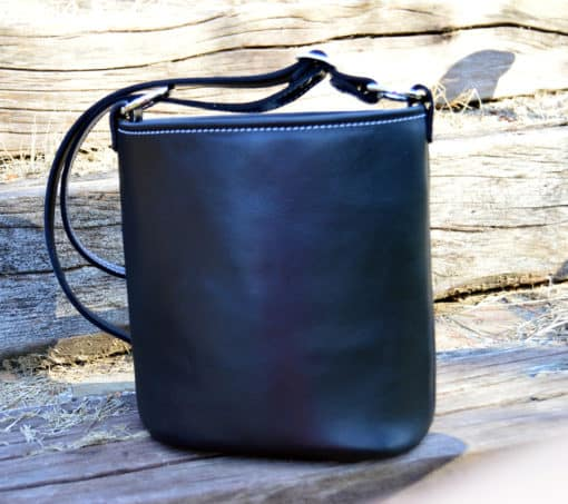 black top grain white stitching concealed carry purse FRONT