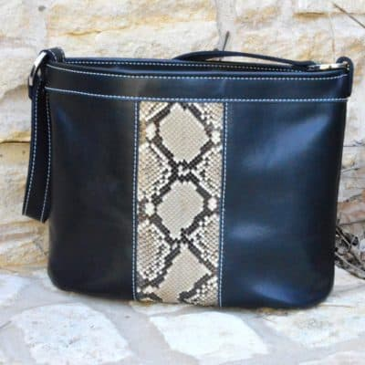 Black Italian top grain leather with python Concealed carry purse