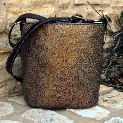 Bronze western tooled concealed carry purse