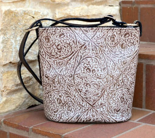 Brown Western Tooled Concealed carry Purse in Bucket Style