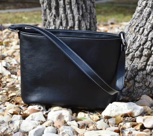 Black Leather Concealed Carry Purse Top grain with white stitching