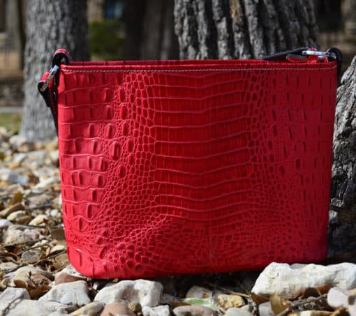 Red Embossed Croc Concealed Carry Purse