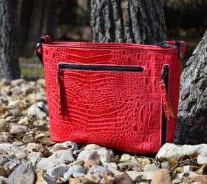Red Embossed Croc Concealed pistol Purse
