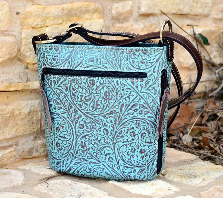 Turquoise and Brown Western Tooled Concealed carry Purse in Bucket Style