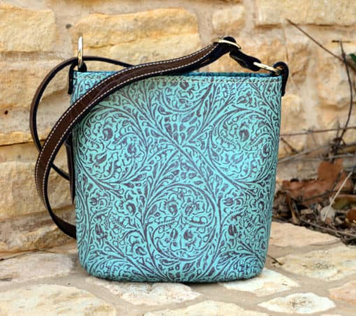 Western Tooled Turquoise Concealed Carry Purse