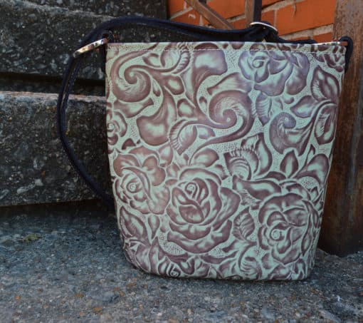 Bucket style Turquoise rose concealed handgun purse