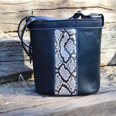 Black top grain with python concealed carry purse