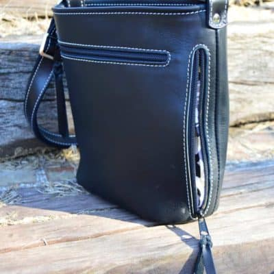 black top grain white stitching concealed carry purse back openblack top grain white stitching concealed carry purse back open