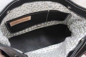 Black top grain python concealed carry purse