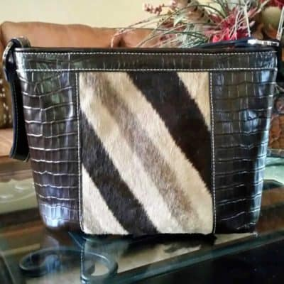 Genuine Zebra and leather concealed carry purse