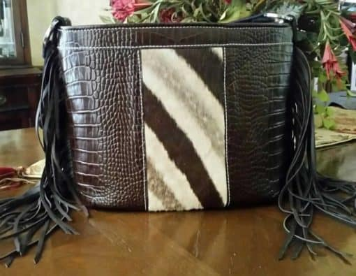 Genuine Zebra with Fringe Concealed Carry Purse