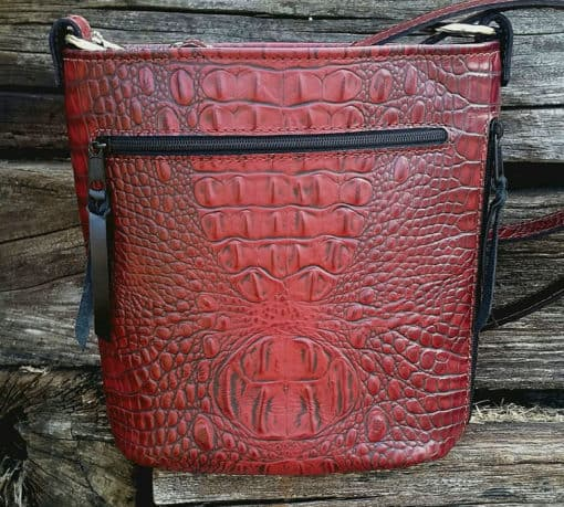 Merlot Red Croc Concealed Carry Purse Bucket