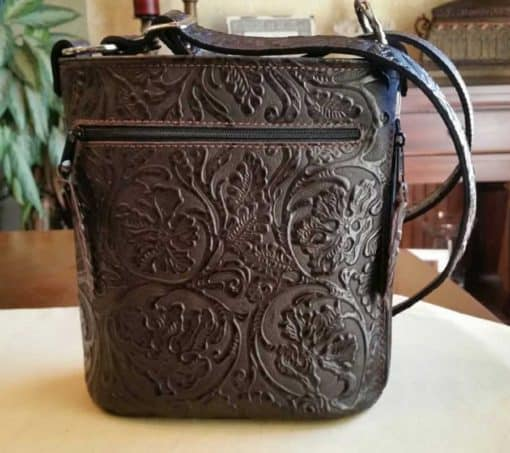 Chocolate Floral Bucket Style Concealed Carry Purse