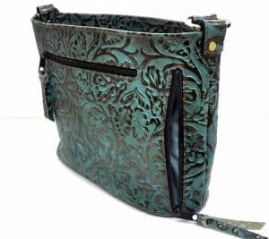 Turquoise and Bronze Floral Concealed Carry Purse Petite Classic