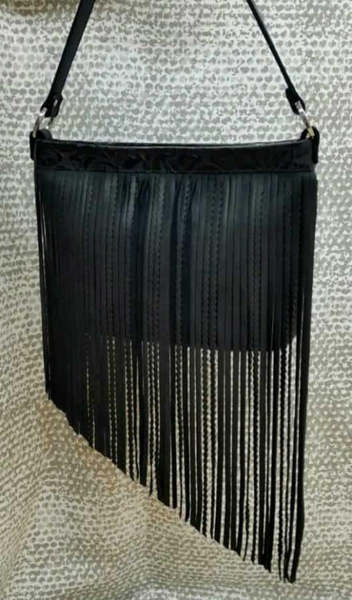 Black Top Grain Angled Fringe