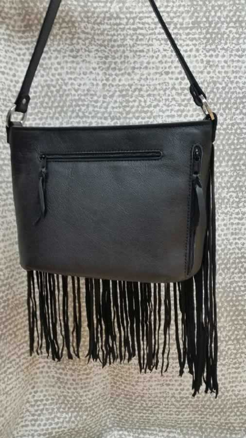 Long Fringed Black Classic with silver spot accents