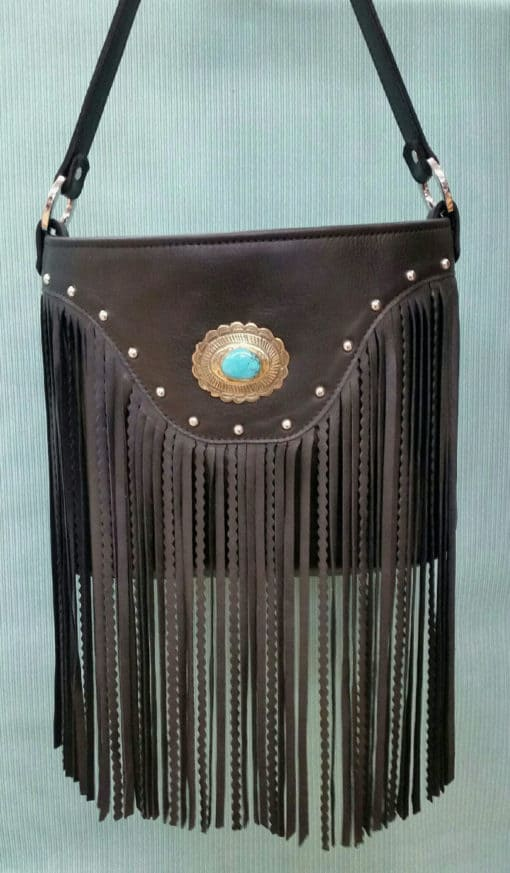 Black Top Grain Fringed Western Yoked Conceal Carry Purse
