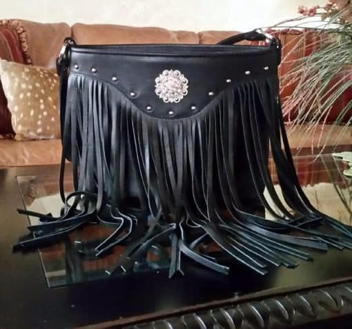 Black Top Grain Fringed Rhinestone Concho Conceal Carry Purse
