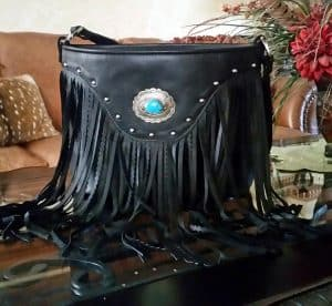 Black Top Grain Fringed with Silver and Turquoise Concho