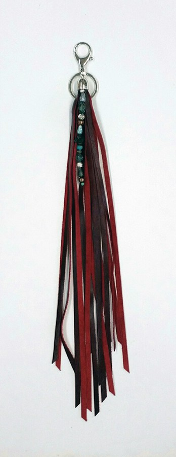Dark Red Fringed Keychain with beads