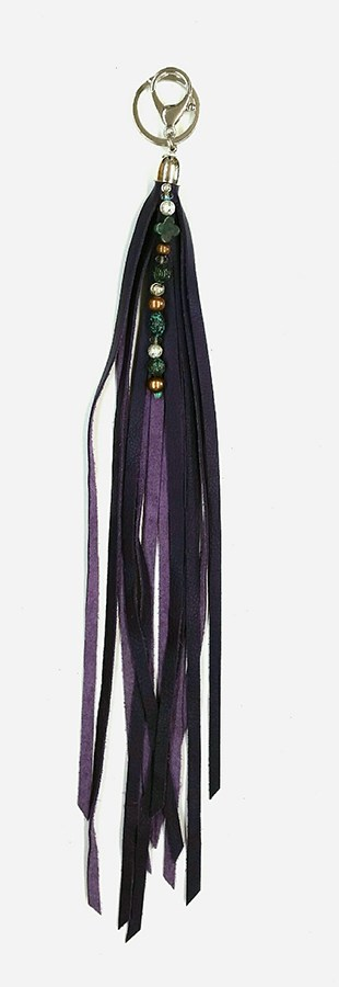 Purple Fringed Keychain with Beads