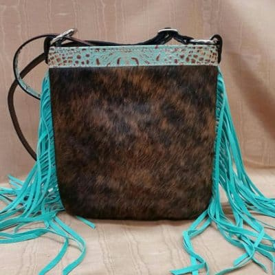 Brindle Hair-on-Hide with Aqua Fringe Bucket Concealed Carry Purse