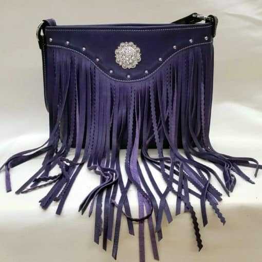 Purple Top Grain Leather Crinkle Fringe Concealed Carry Purse