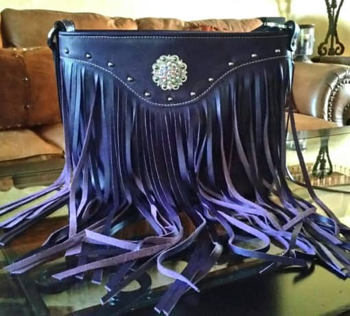 Purple Top Grain Leather Concealed Carry Purse