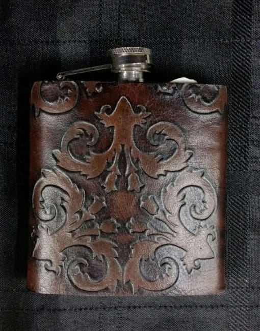 Antique Floral Leather Covered Flask