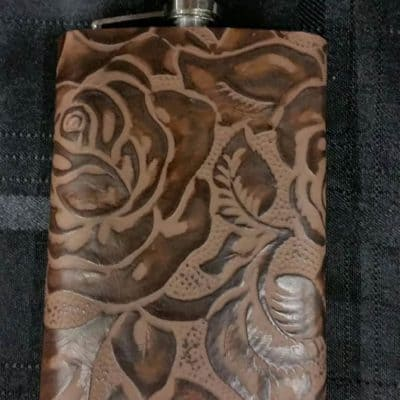 Chocolate Rose Leather Covered Flask