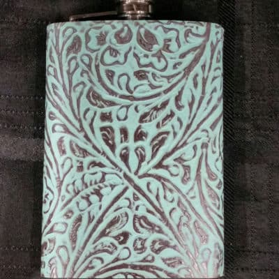 Western Turquoise Leather Covered Flask
